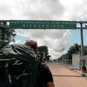 Crossing the border from Mexico to Guatemala in El Ceibo