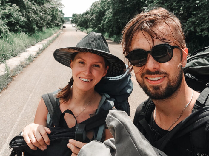 Crossing the border from Mexico to Guatemala on foot