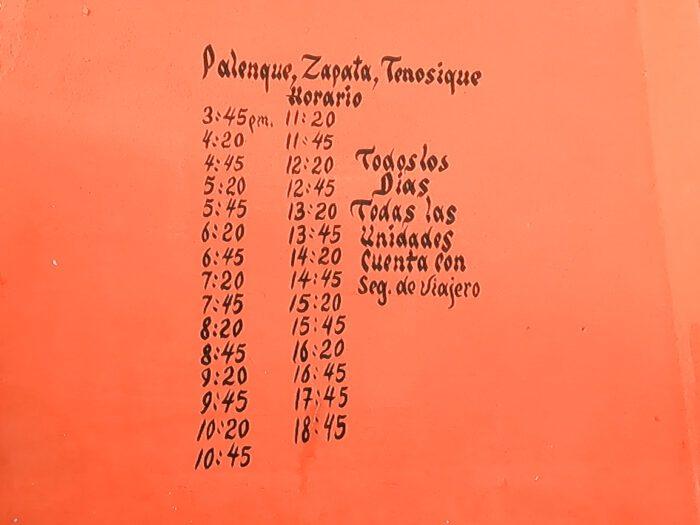 Palenque to Tenosique Schedule